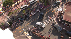 High shot panning looking down on crowds at Cannes Film Festival - stock footage
