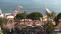 Cannes Croisette Wide Shot Establisher Stock Footage