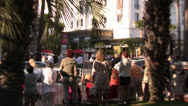 Crowds gathered at the street in Cannes for the Film Festival Stock Footage