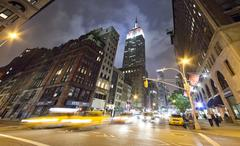 new york city, usa-september 27, 2012 : fifth avenue, featured with taxi cabs - stock photo