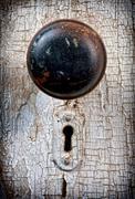rustic vintage doorknob - stock photo
