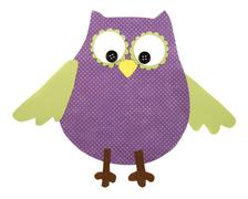 a paper cut out owl purple and green - stock illustration