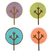 A collection of round cut out trees Stock Illustration