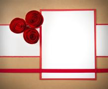 valentine paper rosettes, with copyspace - stock photo
