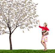 A woman reaching up picking money off a tree on white background Stock Photos
