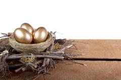 Three golden eggs in a nest Stock Photos