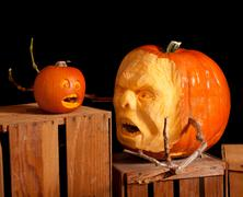 halloween jack-o-lantern pumpkin carving very detailed - stock photo