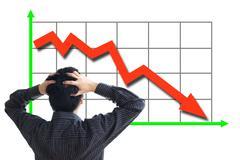Stock price declining Stock Photos
