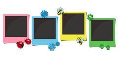 Multicolor polaroid photo frames Stock Photos