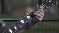 Banjo Slow Motion- Front- Frethand to Pickhand Stock Footage
