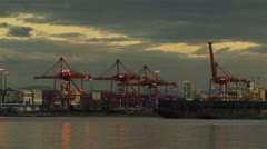 Seattle harbour cranes Stock Footage