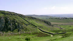 Hadrians Wall at Peel Crags Stock Footage