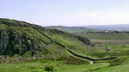 Stock Video Footage of Hadrians Wall at Peel Crags