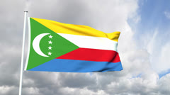 Flag of the Comoros Stock Footage