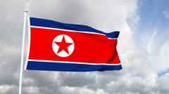 Flag of North Korea Stock Footage