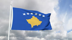 Flag of the Kosovo Stock Footage