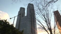 Tokyo Government Office,Sun Stock Footage