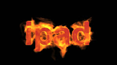 Flame ipad word,fire text. Stock Footage