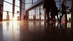 Diverse team of business people in a light and modern office building - stock footage