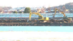 Hydraulic shovel,River,Shore Stock Footage