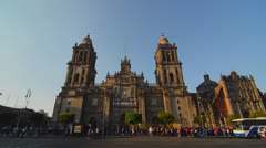 Activity around Mexico City's Cathedral Stock Footage