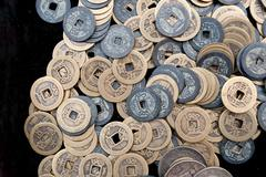 Bronze crafts, ancient chinese coins Stock Photos