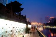 The chinese chengdu, hejiangting night view Stock Photos