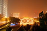 Chengdu, china, covered bridges at night Stock Photos