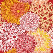 floral seamless pattern in autumn colors - stock illustration