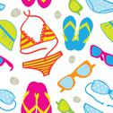 Cute summer vacations seamless background Stock Illustration