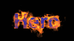 Flame hero word,fire text. Stock Footage