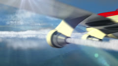 Animated intro with airplane flying over clouds Stock Footage