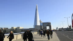 London. The Shard, London Bridge and Commuters Stock Footage
