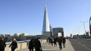 Stock Video Footage of London. The Shard, London Bridge and Commuters