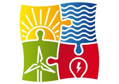 Sign of various ways to produce energy - stock illustration