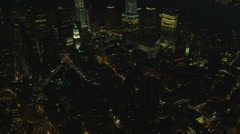 Aerial illuminated 1 WTC, New York, USA Stock Footage