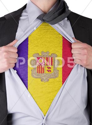 Stock Illustration of business man with andorran flag t-shirt