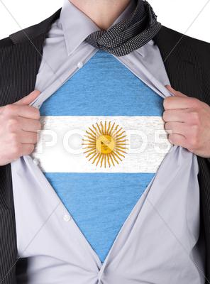 Stock Illustration of business man with argentinian flag t-shirt