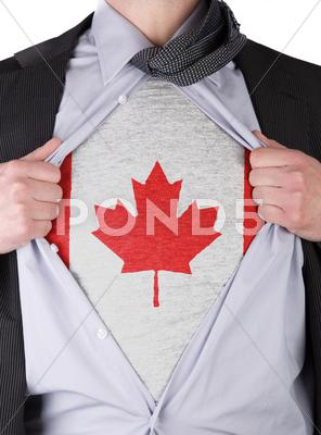 Stock Illustration of business man with canadian flag t-shirt