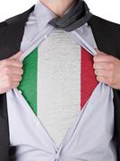 business man with italian flag t-shirt - stock illustration