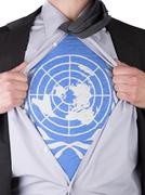 business man with un flag t-shirt - stock illustration