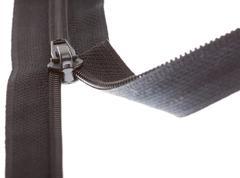 Open black zipper closeup Stock Photos
