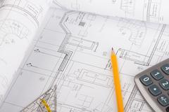 Architectural plans concept Stock Photos