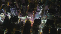Stock Video Footage of Aerial view of Times Square, Broadway, New York, USA