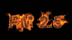 Flame PM2.5 word,fire text. Stock Footage