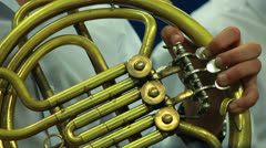 Hand wind instrument Stock Footage
