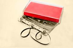 Old Cassette Tapes on Sepia Background - stock photo