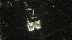 Aerial night view Empire State Building, New York, USA Stock Footage