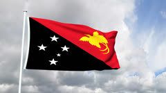 Flag of Papua New Guinea Stock Footage
