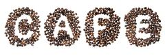coffe beans used to spell the word cafe - stock illustration